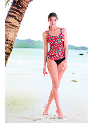 Tankini Top with Ostomy bikini bottom corn poppy